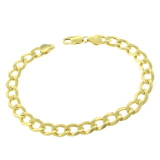 .925 Sterling Silver Goldplated 7.5-millimeter Solid Cuban Curb Link 9-inch ITProLux Bracelet Chain