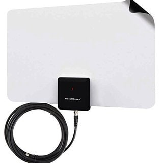 BoostWaves BW3926 Supreme Amplified Razor 50 HDTV Indoor White Antenna with RG6 Cable
