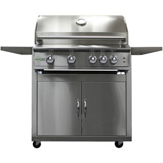 Hanover Silver Stainless Steel 40-inch 5-burner Natural Gas Grill with Cart