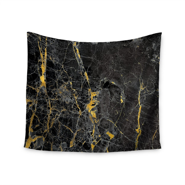 KESS InHouse KESS Original 'Gold Fleck Black Marble' Digital Abstract 51x60-inch Tapestry