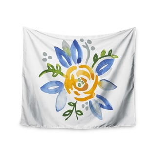 KESS InHouse Jennifer Rizzo 'Yellow Buttercup' Floral Blue 51x60-inch Tapestry