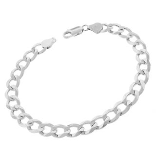 ITProLux 0.925 Sterling Silver 9-millimeter Solid Cuban Curb Link 9-inch Bracelet Chain