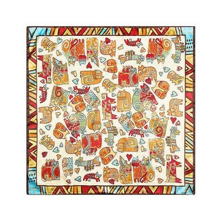 Linel Silk Touch Bohemian 24-inch Square Cat Scarf (Option: Beige)