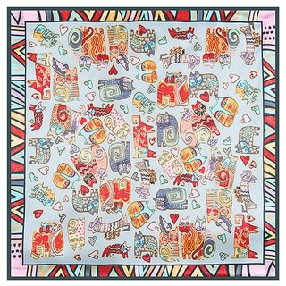 Modern Art Bohemian Crazy Cat 24-inch Square Silk Touch Scarf