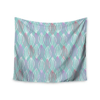 KESS InHouse Julia Grifol 'My White Leaves' Pink Aqua 51x60-inch Tapestry