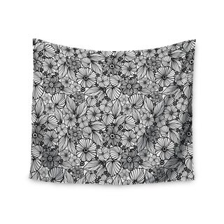 KESS InHouse Julia Grifol 'Candy Flowers In Black' Gray White 51x60-inch Tapestry