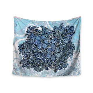 KESS InHouse Julia Grifol 'Blue Flowers In My Garden' Aqua Navy 51x60-inch Tapestry
