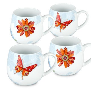 Waechtersbach Bijou 'Butterfly and Blossom' Porcelain Snuggle Mugs (Set of 4)