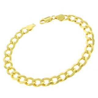 0.925 Sterling Silver 9-millimeter Solid Cuban Curb Link Gold Plated ITProLux 9-inch Bracelet