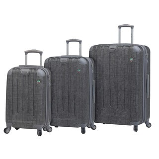 Mia Toro Italy Cestino Silver Polycarbonate and Nylon Three-piece Expandable Hardside Spinner Luggage Set