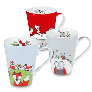 Konitz Waechtersbach Globetrotter Blue/White/Red Bone China Fox/Cat/Owl Mugs (Pack of 3)