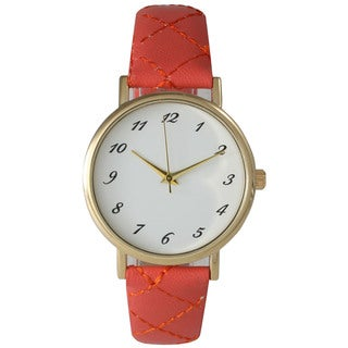 Olivia Pratt Green/Pink/White Leather/Stainless Steel/Metal/Mineral Quilt Style Women's Watch