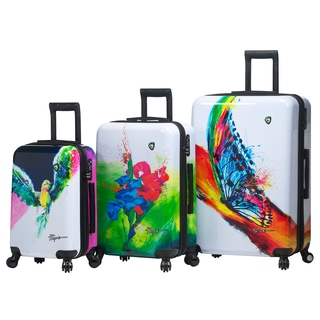 Mia Toro Italy Prado Exotic Life Multicolor Polycarbonate/Nylon 3-piece Fashion Expandable Hardside Spinner Luggage Set