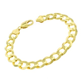 0.925 Sterling Silver 10.5-millimeter x 9-inch Solid Cuban Curb Link Goldplated ITProLux Bracelet Chain