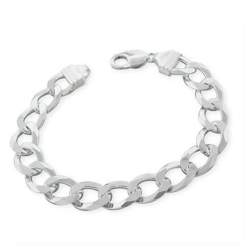 "Authentic Solid Sterling Silver 12mm Cuban Curb Link .925 ITProLux Bracelet Chain 9"", Made In Italy"