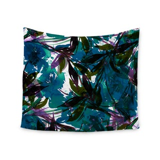 KESS InHouse Ebi Emporium 'Floral Fiesta Teal' Watercolor Pattern 51x60-inch Tapestry