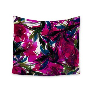KESS InHouse Ebi Emporium 'Floral Fiesta Magenta Blue' Watercolor Painting 51x60-inch Tapestry