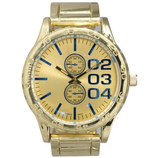 Olivia Pratt Men's Two-tone Goldtone and Silvertone Stainless Steel Decorative 2-Dial Watch