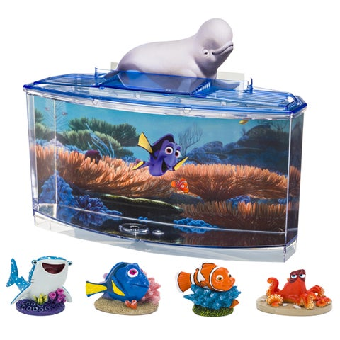 Penn Plax Disney Finding Dory Aquarium Betta Fish Tank Kit with 4 Character Resins
