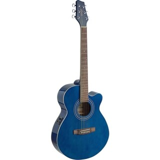 Stagg SA40MJCFI-TB Transparent Blue Mini Jumbo Cutaway Acoustic/Electric Concert Guitar