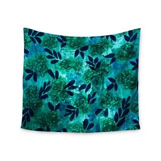 KESS InHouse Ebi Emporium 'Grunge Flowers III' Teal Floral 51x60-inch Tapestry