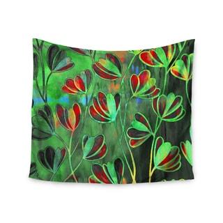 KESS InHouse Ebi Emporium 'Efflorescence - Red Green' Lime Crimson 51x60-inch Tapestry