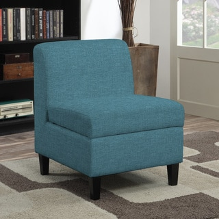 Handy Living Wrigley Blue Linen Armless Storage Chair