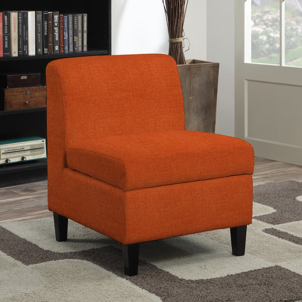 Shop Handy Living Wrigley Orange Linen Armless Storage