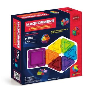 Magformers Solids Clear Rainbow Plastic 14-piece Set