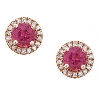 Anika and August 14K Rose Gold Round-cut Rubellite and Diamond Earrings