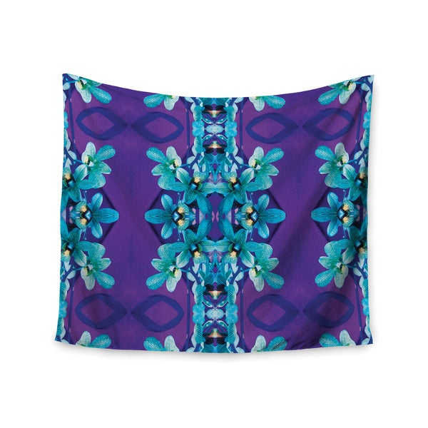 KESS InHouse Dawid Roc 'Blue Orchids' Teal Floral 51x60-inch Tapestry