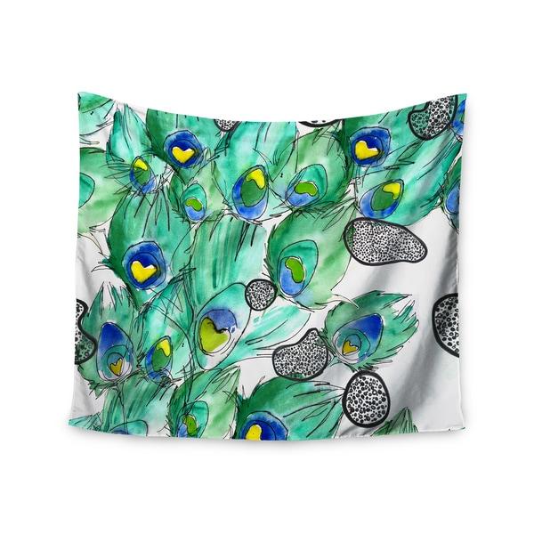 KESS InHouse Danii Pollehn 'Peacockcell' Green Animals 51x60-inch Tapestry
