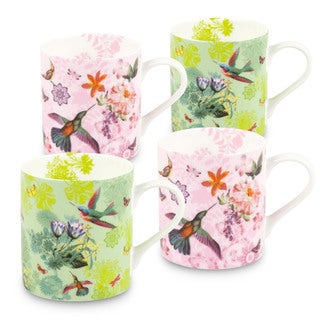 Konitz Waechtersbach White/Yellow/Purple Bone China Flowers and Birds Mugs (Pack of 4)
