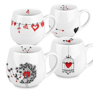 Konitz Waechtersbach Hearts Assorted Porcelain Snuggle Mugs (Pack of 4)