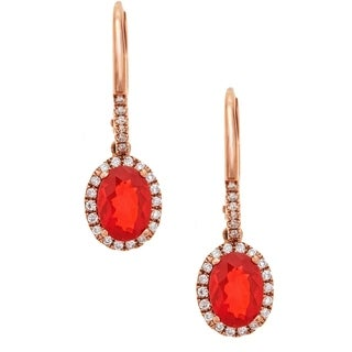 Anika and August 10K Rose Gold Oval-cut Fire Opal and Diamond Earrings