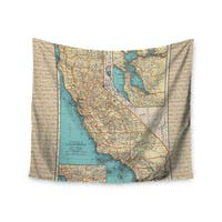 KESS InHouse Catherine Holcombe 'So Cal Surf Map' Beige Blue 51x60-inch Tapestry