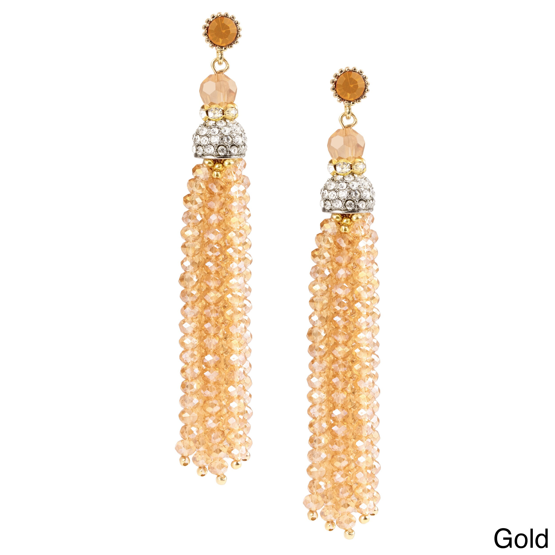 Handmade Saachi Long Beaded Tassel Earrings (China) (Gold...