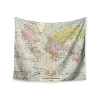 KESS InHouse Catherine Holcombe 'Travel' World Map 51x60-inch Tapestry
