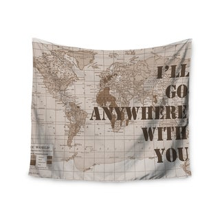 KESS InHouse Catherine Holcombe 'I'll Go Anywhere With You' Brown Map 51x60-inch Tapestry