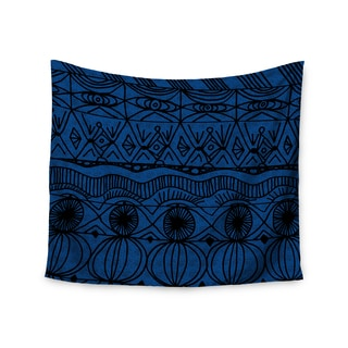 KESS InHouse Catherine Holcombe 'Black and Blue' Pattern 51x60-inch Tapestry