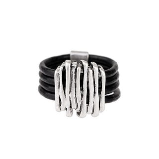 Saachi Black Leather Ring (China)