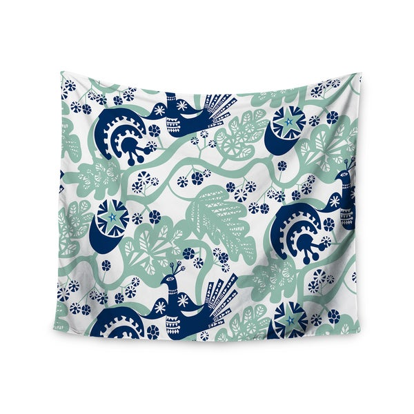 "Kess InHouse Agnes Schugardt ""Folk Birds"" White Vector Wall Tapestry 51'' x 60''"