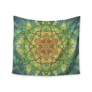 KESS InHouse Art Love Passion 'Celtic Golden Flower' Green Yellow 51x60-inch Tapestry