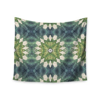 """Kess InHouse Art Love Passion """"Forest Leaves Repeat"""" Green Teal Geometric Wall Tapestry 51'' x 60''"""