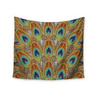 """Kess InHouse Art Love Passion """"Peacock Pattern"""" Brown Teal Wall Tapestry 51'' x 60''"""