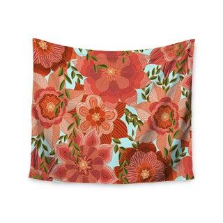 "Kess InHouse Art Love Passion ""Flower Power"" Red Floral Wall Tapestry 51'' x 60''"