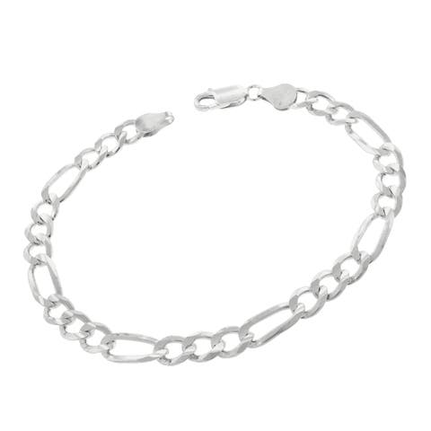 """Authentic Solid Sterling Silver 6mm Figaro Link .925 ITProLux Bracelet Chain 8"""", 8.5"""", 9"""", Made In Italy, Men & Women"""