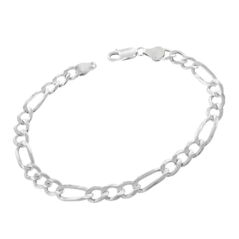 "Authentic Solid Sterling Silver 6mm Figaro Link .925 ITProLux Bracelet Chain 8"", 8.5"", 9"", Made In Italy, Men & Women"