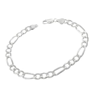 0.925 Sterling Silver 6-millimeter Solid Figaro Link ITProLux 9-inch Bracelet Chain