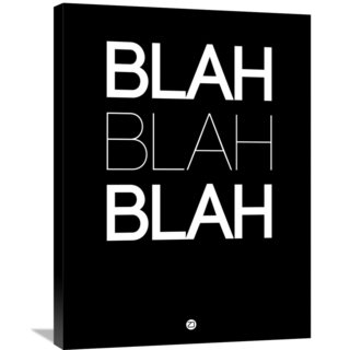 Naxart Studio 'BLAH BLAH BLAH' Black Poster Stretched Canvas Wall Art